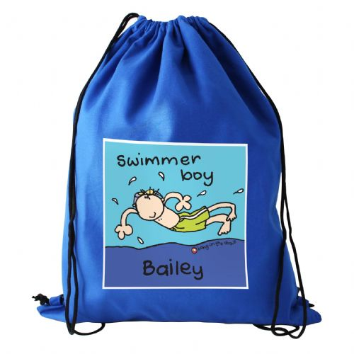 Personalised Bang On The Door Swimmer Boy Swim bag